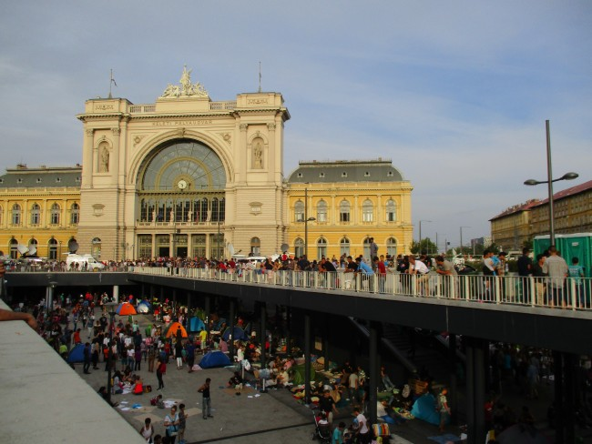 Scenes in front of the Keleti station on 3 September 2015.