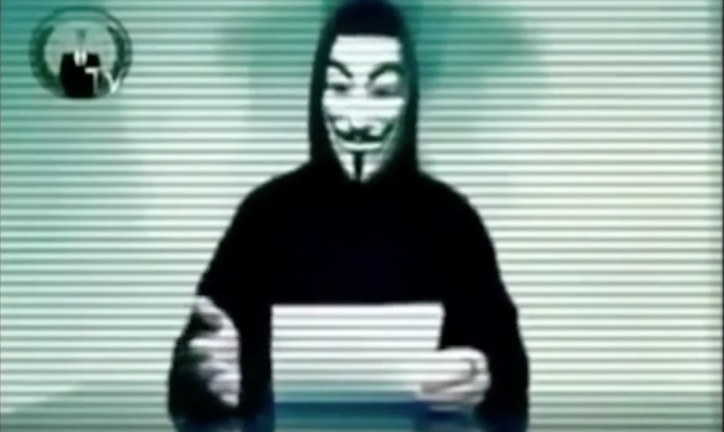 Still of a video message from Anonymous (#OpPaypal)