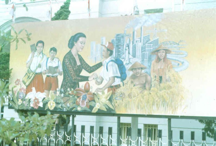 "A Suharto era billboard in PLACE depicting a ""good woman,"" who looks very much like Suharto's wife, Siti Hartinah Suharto (Photo: Jan Newberry, 1992, Yogyakarta)"