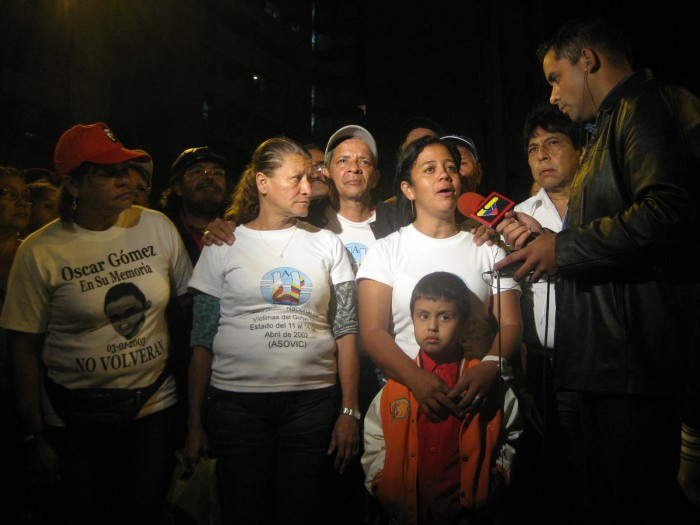 Families of victims from the 2002 coup being interviewed by state TV (14 April 2009).