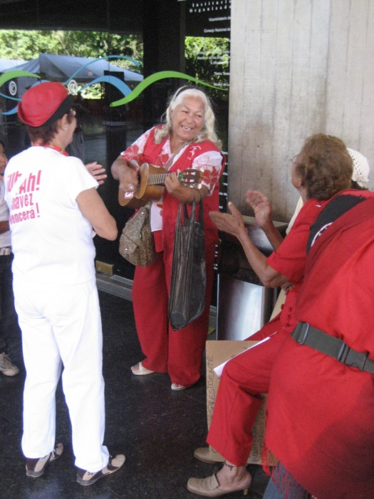 Singing ahead of a gathering with Chávez on Women's Day 2008.