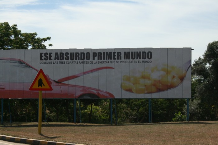 Billboard against turning agriculture into biofuels, 2009