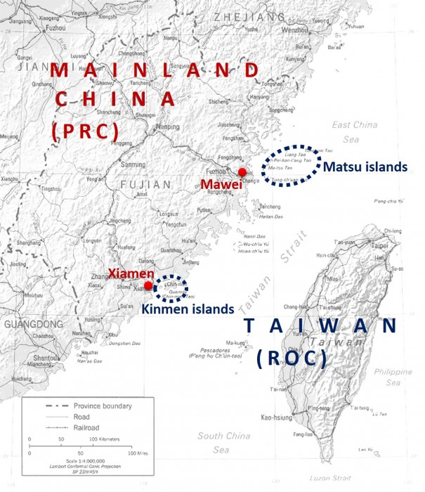 Figure 1: The location of the Kinmen and Matsu islands.