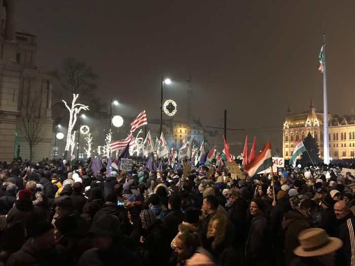 "Protesters in Hungary against the ""slave law"" (photograph by Kristóf"